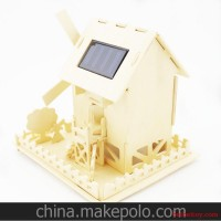 DIY创意木制手工插积木太阳能田园小屋早教拼装模型玩具摆件风车