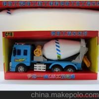 惯性工程车模型玩具 蓝色混凝土车仿真模型 儿童益智玩具批发