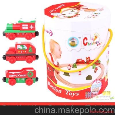批发 圣诞老人火车轨道托马斯轨道游戏 木制积木益智玩具