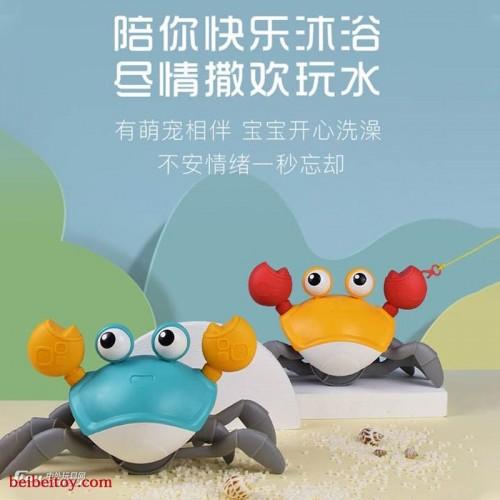 卡通拉线螃蟹儿童洗澡玩具抖音牵绳螃蟹水陆戏水螃蟹戏水玩具批发