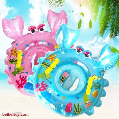 厂家直销加厚PVC儿童游泳圈螃蟹座圈充气泳圈水上充气玩具定制